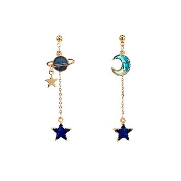 Creative Blue Universe Asymmetric Earrings