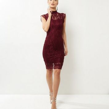AX Paris Dark Purple Lace Cap Sleeve Dress