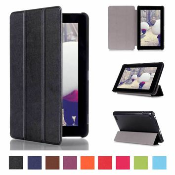 For Amazon New Kindle fire 7 2015 7.0 inch Tablet Case Leather Three Folded Stand Magnetic Protective Skin Cover for New fire 7