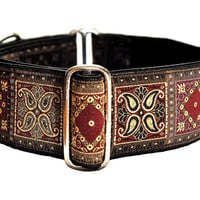 Burgundy Squares Jacquard Martingale Collar - 2 Inch