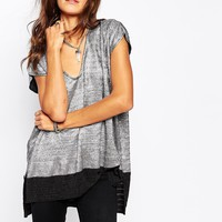 Religion Deep V Neck Top With Drop Hem In Metallic