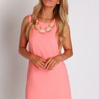 Sweet Simplicity Shift Dress Coral