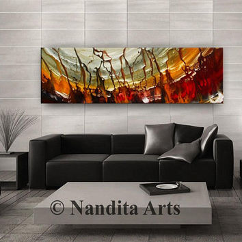 Contemporary Art Acrylic Painting, large artwork, red home decor, brown, office art, wall art, Modern Painting, water wave gold artwork gift