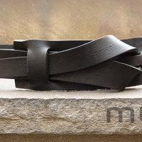 Flat Black Muse Leather Belt 1.5 inch  Nickel-Free/ Vegetable tanned leather