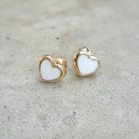 Sweet Valentine Heart Studs [6703] - $12.00 : Vintage Inspired Clothing & Affordable Dresses, deloom | Modern. Vintage. Crafted.