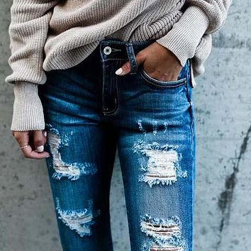 Jeans Skinny Slim-Fit Ripped Pants With Holes