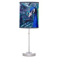Indian Blue Peafowl Table Lamp