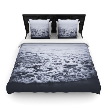 "Leah Flores ""Out to Sea"" Gray Coastal Woven Duvet Cover"