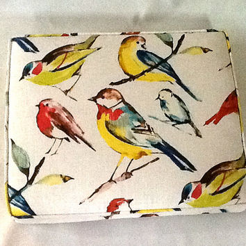 22x18 Inch Floor Pillow Cushion In Bird Print Linen Fabric - Sturdy Foam Insert - Ships Within 3 Days