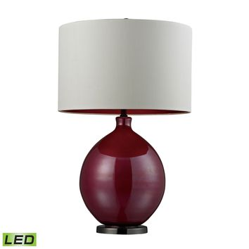 D268-LED Blown Glass LED Table Lamp in Cerise Pink and Black Nickel - Free Shipping!
