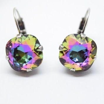 Swarovski crystal earrings, SQUARE CUSHION CUT 12mm, drop earrings, designer inspired, crystal electra, popular