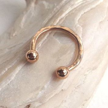 Rose Gold Circular Barbell Horseshoe Hammered Septum,Upper Ear Daith Rook,Tragus | eBay