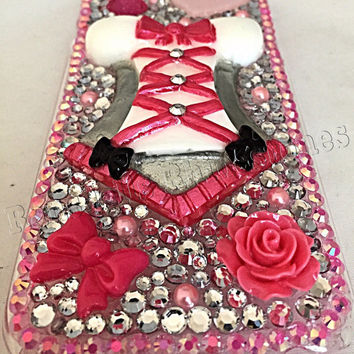 Iphone 6 corset cell phone case, punk and white bling cell phone case, iphone 6 cell case, iphone 6 blinged cell phone case, corset, bling