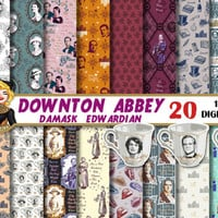 Downton Abbey digital paper, clipart, edwardian, damask, quotes, for invitations,cards, Mrs Patmore, Scrapbooking Paper,patterns,backgrounds