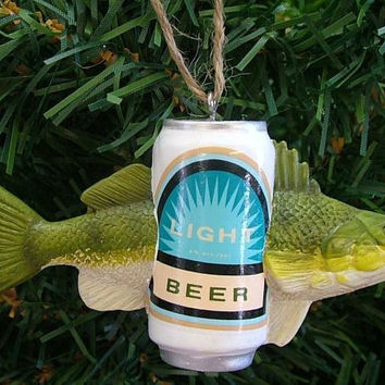 Christmas Ornament - Green Fish With A Beer