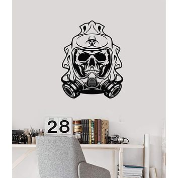 Vinyl Wall Decal Biohazard Skull Gas Mask Room Decoration Art Stickers Mural (ig5622)