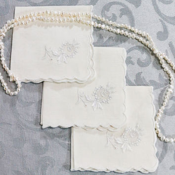 Three Linen Embroidered Napkins, White Linen & Silver Flowers, Cocktail Napkins with Scalloped Edges, Cottage Chic, Vintage