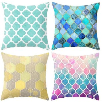 "Scale Plaid Patterns Throw Pillow Cover Decorative Massager Pillows Linen Zip DIY Home Decor Gift""18X18''"