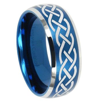 10mm Celtic Dome Brushed Blue 2 Tone Tungsten Carbide Engraved Ring