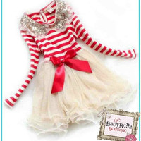 RED striped  and gold CHIFFON  baby girls dress, sequin necklace Birthday , Christmas Outfit Dress,