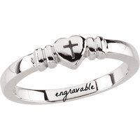 Heart with Cross Chastity Ring