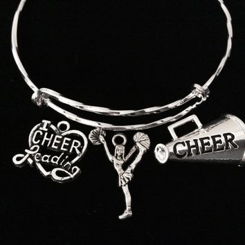 Cheerleading Adjustable Bracelet Expandable Wire Bangle Cheerleader Bracelet I Love Cheer Megaphone Trendy Gift