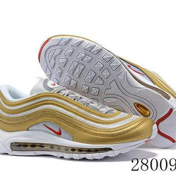 HCXX 19July 1025 Nike Air Max 97 BV0306-700 Flyknit Breathable Running Shoes Metallic Gold