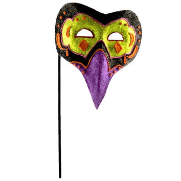Halloween GLITTERED MASK Paper Mache Cat Owl HC322029 BIRD