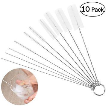 OUNONA 10pcs Nylon Tube Brushes Pipe Cleaning Brush for Drinking Straws Glasses Keyboards Jewelry Cleaning