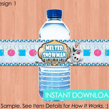 "Frozen Bottle Labels - INSTANT DOWNLOAD 2x9"" Disney Frozen Water Bottle Labels Melted Snowman Water - Birthday Party Printable Olaf"