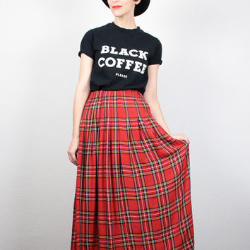 Vintage 90s Skirt Red Black Green Plaid Midi Skirt 1990s Grunge Punk Tartan Plaid Maxi Skirt Soft Grunge Plaid Kilt M L Extra Large XL
