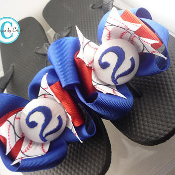 Baseball Flip Flops Bow Number Softball  Monogrammed Mom Girl Boutique Sports Ribbon Flip Flops choose your ribbon and team colors
