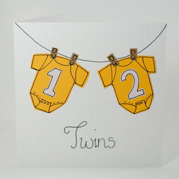 Greeting Card - Twins  Handmade Greeting card - Twins Congratulations Card - Twins New Babies Card