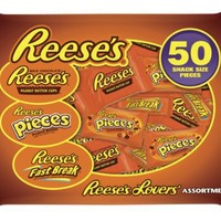 Reese's Snack Size Assortment (Reese's, Reese's Pieces & Reese's Fast Break), 50-Piece (Pack of 2)