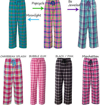 Monogram Flannel Pants Dorm Room Lounge Pants, Christmas Gift, Wedding Party Gifts, Custom Embroidery