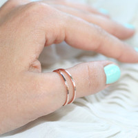 Double Rose Halo Thumb Ring  Set of 2  Smooth by goldenlili