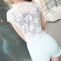 SEXY ALL LACE BACK CROP TIE TOP