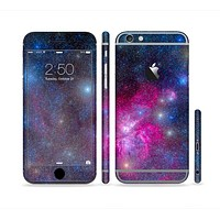 The Pink & Blue Galaxy Sectioned Skin Series for the Apple iPhone 6