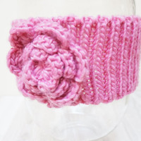 Pink Knitted Headband with Flower Knit Crochet winter Woman Fashion Accessory hat chunky handmade girl teenager ski ear warmer running