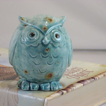 Blue Green Owl figurine collectible ceramics hand painted home decoration. The great horned owl.