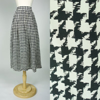 1980s hounds tooth skirt, silk fit and flare high waist tea length black and white color block skirt, Nordstrom, Medium, 8