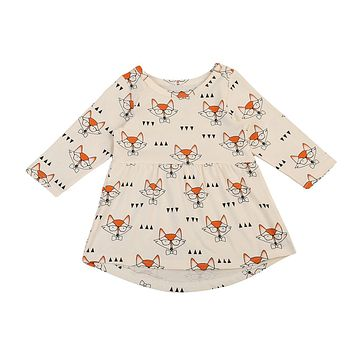 Pudcoco 2017 Cute Toddler Baby Girls Dress Princess Glasses Fox Party Dresses Clothes Casual 0-4Y