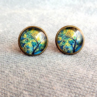 Fall Tree Stud Earrings Green Yellow Stud Earrings Fall Studs Posts Nature Jewelry Fall Fashion
