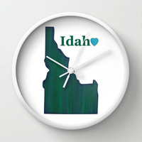 Idaho Clock, Wall Clock, green clock, wall decor, Idaho State, typography art, state love, state map, green decor, office decor, home decor