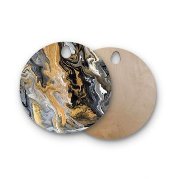 "Catherine Holcombe ""Gold Vein Marble"" Black Gold Abstract Geological Painting Round Wooden Cutting Board"