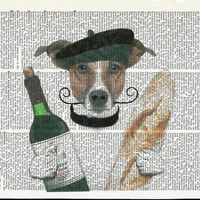 Cute Dog with Wine and Bread Dictionary Art Print on Upcycle Vintage Page Book Print Art Print Dictionary Print Collage Print