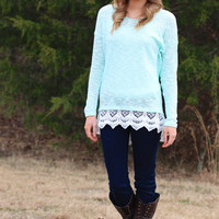 Sweet Surrender Lace Sweater {Mint}