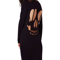 Laser Skull Cutout Backless Long Sleeve Mini Shift Dress