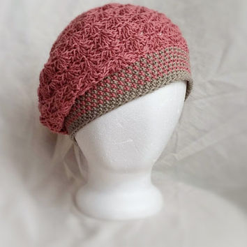 crochet slouch hat spring organic cotton cloche hat shell fan pattern pink grey