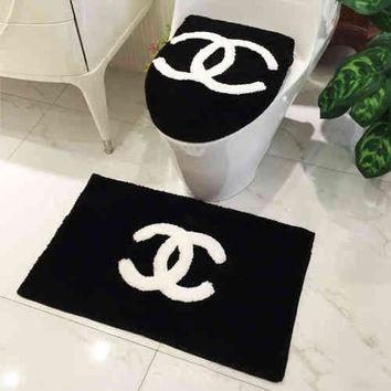CHANEL Bathroom Set Toilet Set Cover WC Seat Cover Bath Mat 3pcs Set Toilet Seat Cushion